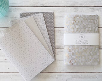 Silver Softcover Notebook Journal Travel Notebook Hand Bound 32 Lined White Pages *** Sold Individually ***