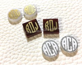 Monogram Acrylic DIY Earring, 16mm earring circles, monogram jewelry, monogram earrings, acrylic blanks, circular earrings,gold monogram