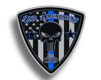 2nd Amendment Punisher Skull Sticker USA Blue Line BTB Police Vinyl Cup Cooler Car Truck Decal Second 2A