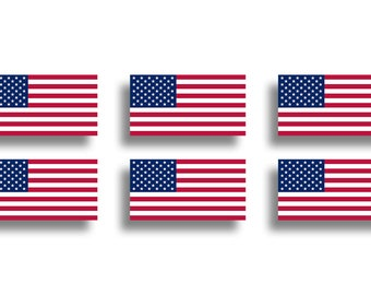 6 Mini American Flag Stickers USA Vinyl Die Cut Decals Car Truck Laptop Tablet Cup Cell Phone Graphic Red White Blue