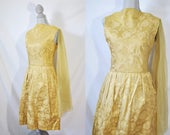 Vintage 60s Yellow Brocade Cocktail Dress Tulle Wedding Guest Dress Tea Length Mad Men Gown Sleeveless Evening Party Homecoming Dress
