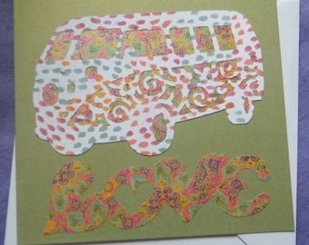 Blank Greetings Card - Paint-splashed White Psychedelic Camper with 'Love' Message