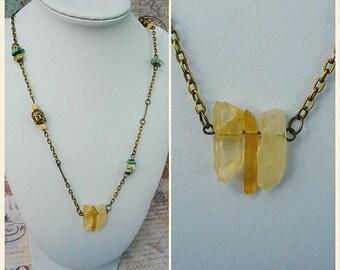 Triple Quartz Crystal, Titanium Quartz, Gemstone Necklace, Citrine Necklace, African Turquoise, Fluorite, Long Boho Necklace - 00334