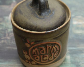 Tremar pottery Vintage preserve pot. Marked Marmalade