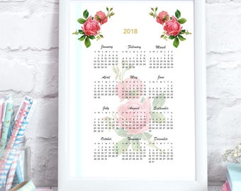 2018 rose calendar - instant download - printable 2018 calendar US letter size + DIN A4 - commercial use allowed - vintage rose design