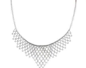 """14k White Gold Women's Beaded Necklace - 14k White Gold beaded Choker Necklace 16"""" 11.3 grams"""