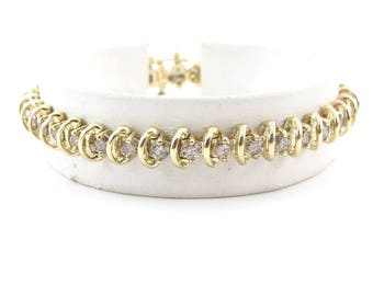 "14k Yellow Gold Diamond Tennis Bracelet 7 1/4"" 3.00 carats"