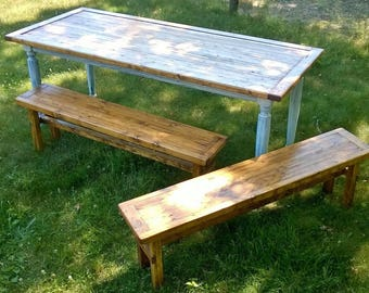 Rustic Farmhouse Bench  (Reclaimed Wood)