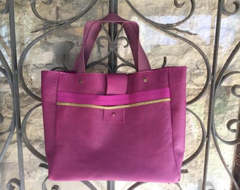 Small raspberry pink leather tote bag
