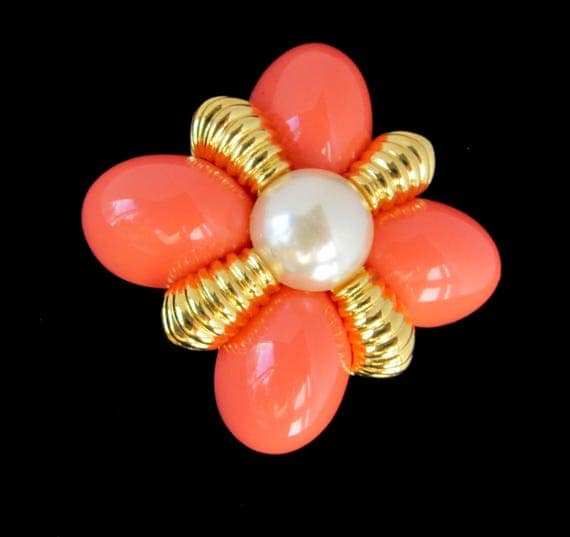 Joan Rivers signed Domed Orange & Pearl bead, gold tone PIN ~Timeless, vintage costume jewelry