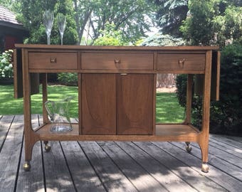 AVAILABLE:  Broyhill Brasilia Mid Century Modern Bar Cart / Dining Room / Refinished / Stained / Walnut / Danish / Entertaining