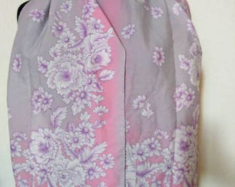 Vintage Guy St. Honoré scarf grey pink flowers