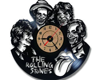The Rolling Stones Band CD Record Clock Vinyl Creative Wall Clock Antique Home Art Decor Hanging Clock