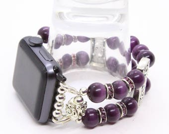 Periwinkle Cats Eye Beads - Apple Watch Band 42 Apple Watch Bracelet Womens Apple Band Apple iWatch Band iWatch Strap Apple Watch Strap
