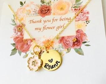 Flower Girl Necklace, Flower Girl Gift, Thank you for being my flower girl, Flower Girl Jewelry, Personalized Flower Girl