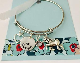 Unicorn Bracelet, Silver, Personalized Unicorn Bracelet, Unicorn Jewelry, Little Girl Charm Bracelet, Young Girl Jewelry, Unicorn Bangle