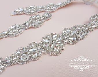 Bridal belt, wedding sash, bridal sash, wedding belts and sashes, wedding belt, thin bridal belt, diamond belt, rhinestone belt, BRENDA