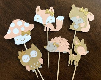 Woodland Animal Cupcake Toppers, Kraft Pink and Gold