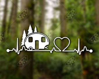 DECAL [Heartbeat Camper] Vinyl Decal, Bumper Sticker, Car Window Decal, Car Decal, Laptop Decal, Phone Decal, Water Bottle Decal