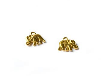 Set of 2 small golden color elephant charms