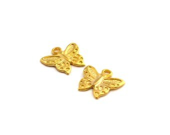 Set of 2 Butterfly gold color charms