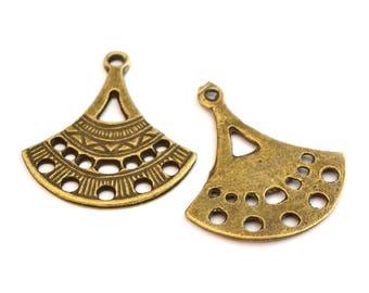 Ethnic pendant in bronze set of 2
