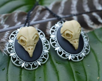 Faux Owl Skull Cameo Pendant Necklace