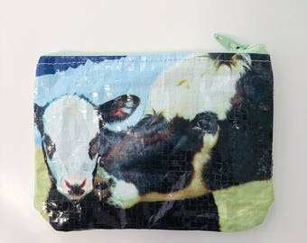 Upcycled Cow Feed Bag Mini Pouch