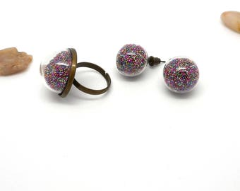 Duo earrings and ring beads multicolor globe