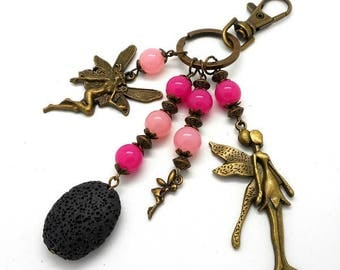 A scent! jewel bronze bag, fairy, pink beads