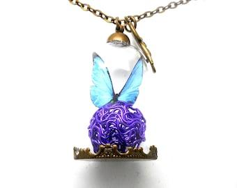 Long necklace bronze globe blue butterfly, purple ball glass