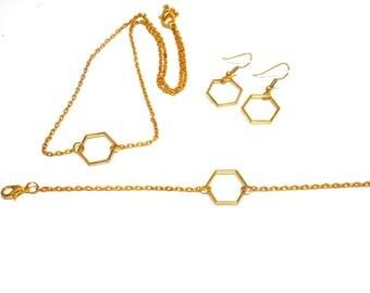 Trio necklace bracelet set, minimalist earrings