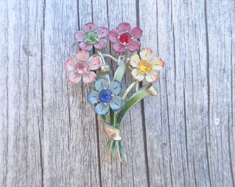 Vintage Signed Coro Large Floral Bouquet Flower Brooch AC146