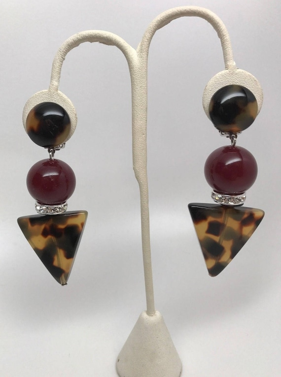 Angela Caputi Italian Designer Burgundy, Tortoise Resin & Rhinestone Earrings