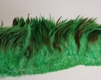 "1 Yard SADDLE FRINGE Dyed Kelly GREEN 5-8"" Rooster Feathers"