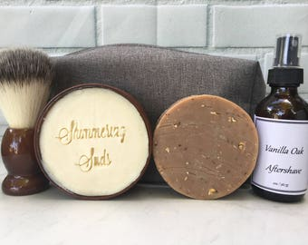 Vanilla Oak Shaving Kit, Men's Shaving Kit, Dopp Kit, Vanilla Oak Scented Shaving Kit, 6 Piece Set, Father's Day Gift