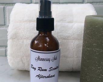 Bay Rum Aftershave, Men's Aftershave, Aloe Aftershave, Vegan Aftershave, Handmade Aftershave, 2oz Amber Spray Bottle