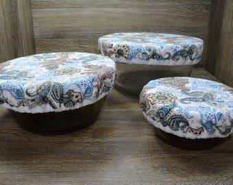Eco-Friendly // Reusable // Bowl Covers // Set of 3 // Botanical Paisley