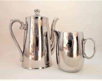 Coffee Pot Royal Worcester Silver Lustre Vintage Milk Jug Fireproof Porcelain Quality Serving Tableware