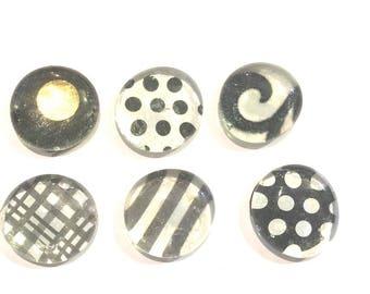Black & White Geometric Print Glass Magnets x6