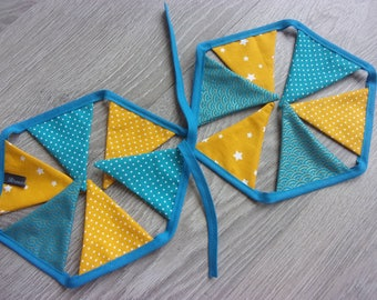 """Garland of 12 turquoise and mustard yellow flags """"Cyclades"""" indoor decor or decoration for child's room."""