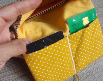 """Door-sheet/card holder collection """"yellow and polygon"""". Geometric fabric / / white/beige/black and mustard yellow"""