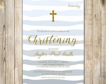 BOY CHRISTENING Invitation, Blue Christening Invite, Printable Boy Baptism Invites, Holy Communion, Boy First Birthday Baptism, Blessing