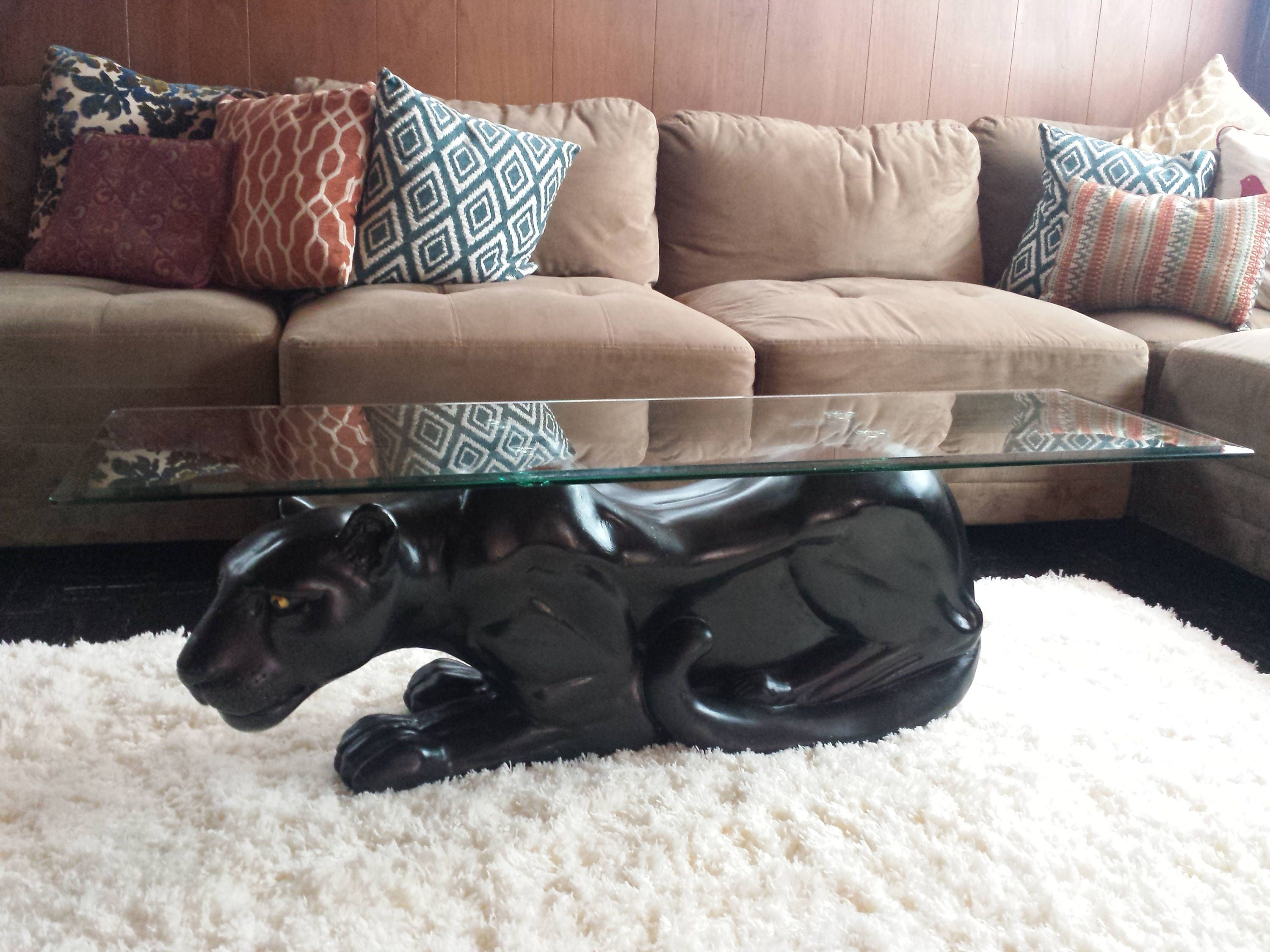 Mid century black panther coffee table with glass top 41 description vintage mid century black panther coffee table geotapseo Gallery