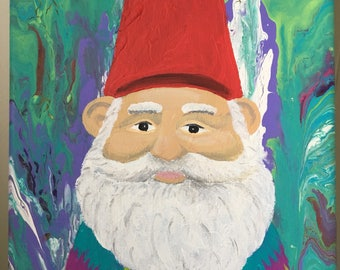 Psychedelic Gnome Acrylic 10x8 Canvas Painting