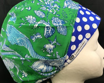 Blue Toile Bouffant Scrub Hats for Women Surgical Caps Surgery Tech OR Nurse CRNA Bright pink Dots JP LoveNstitchies Physician Assistant