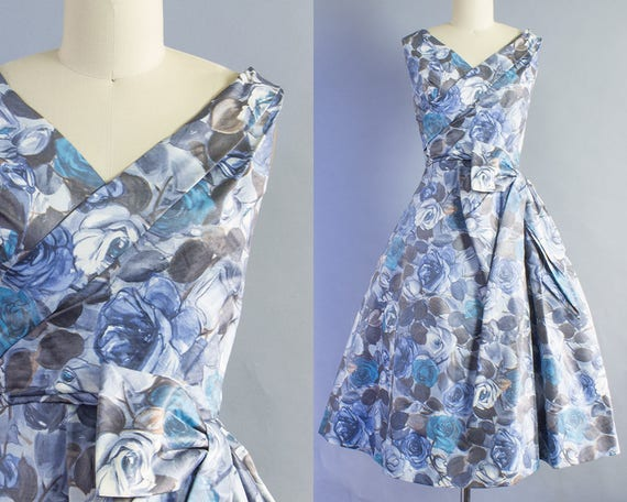 1950s Rose Print Cotton Dress | Small (35B/26W)