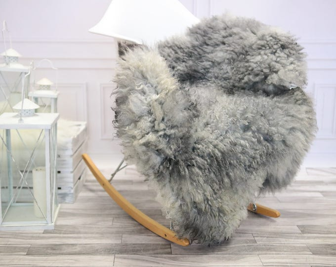 Genuine Rare Gotland Sheepskin Rug - Curly Fur Rug - Natural Sheepskin - Gray  Sheepskin #DECGOT7