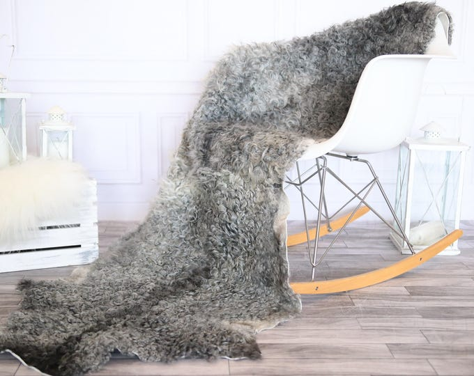 Double Gray Gotland Sheepskin Rug | Long rug | Shaggy Rug | Chair Cover | Runner Rug | Gray Rug | Curly sheepskin rug