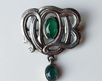 15% SALE - Victorian Silver Murrle Bennett & co Chrysoprase Antique Brooch Pin